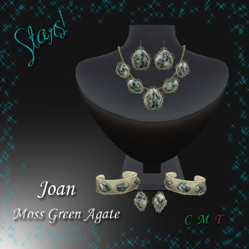 Joan Complete Set (Moss Green Agate)This stone reminds me of a fir tree covered with snow.